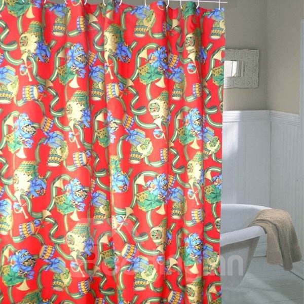 Charming Christmas Gift Printing Waterproof 3D Shower Curtain