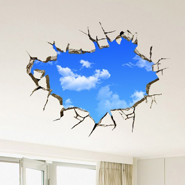 Creative Broken Wall Blue Sky Removable 3D Wall Sticker