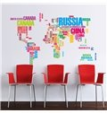 Creative Colorful Letters World Map Removable Wall Sticker