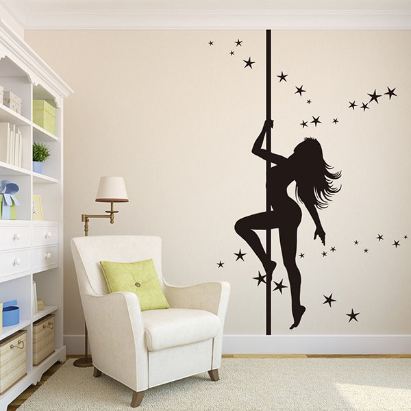 Gorgeous Woman Pole Dancing Removable Wall Sticker