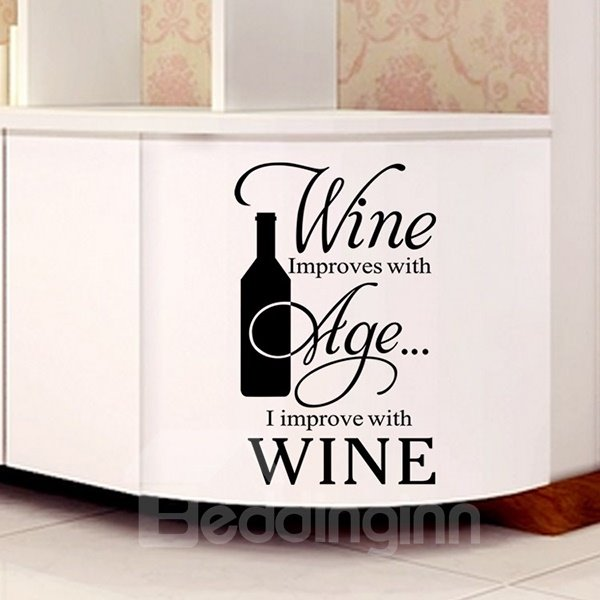 Witty Remark on Wine Kitchen Removable Wall Sticker