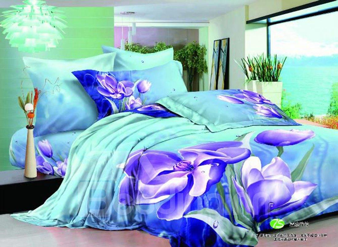 Elegant Purple Flowers Print Cotton Fitted Sheet