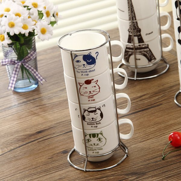 Amazing Creative Cute Cat Print Ceramic Coffee Mugs Sets