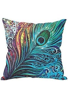 Vintage Peacock Feather Design Linen Throw Pillow Case