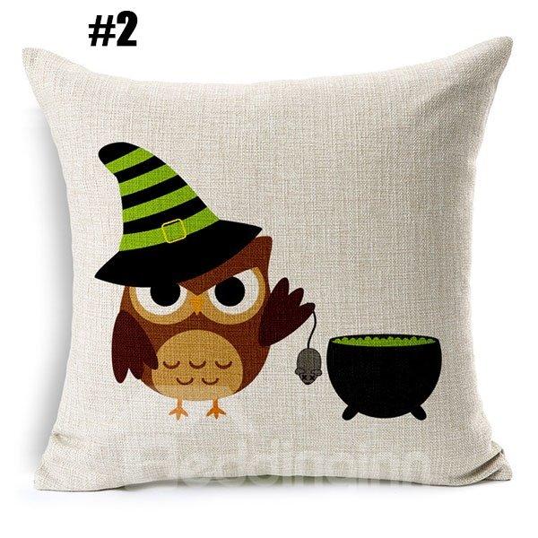 Hallowmas Bat Pumpkin Owl Print Linen Throw Pillow Case