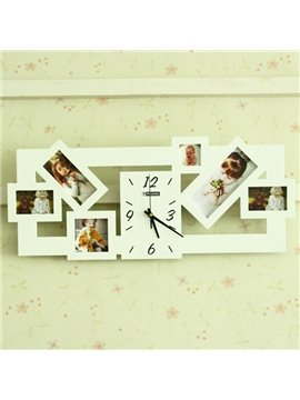 Versatile 2-Color 6-Photo Frame 20-inch Wall Clock