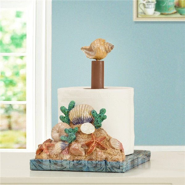 Beach Style Shell and Starfish Adjustable in Height Toilet Paper Holder