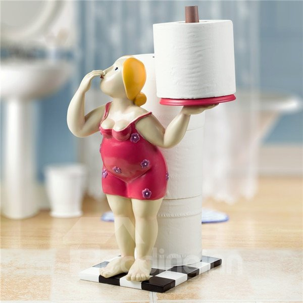 Wonderful Lady In Red Toilet Paper Holder