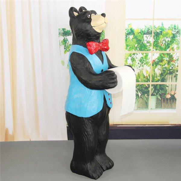Cute Bear Waiter Shape Large Size Toilet Paper Holder