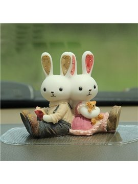 Cute Lover Rabbits Creative Car Decor