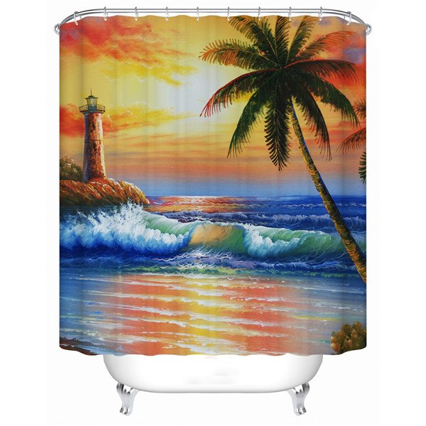 Unique Twilight of the Sea Print 3D Shower Curtain