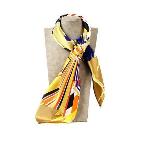 Deluxe Yellow Geometric Patterns Mulberry Silk Square Scarf