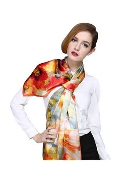 Floral Patterns Orange Mulberry Silk Long Scarf