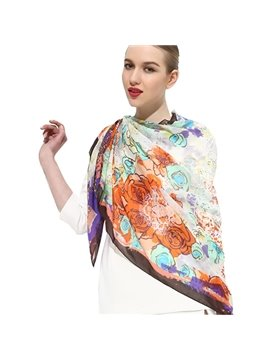 Beautiful Artistic Flowers Print Cover Up Mulberry Silk Long Scarf