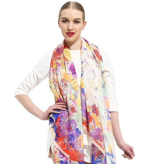 Light Purple Flowers Print Cover Up Mulberry Silk Long Scarf