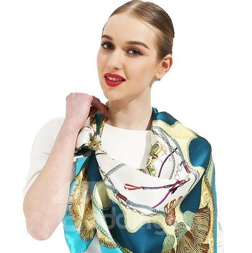 Graceful Gorgeous Blue Ribbons and Tassels Print Mulberry Silk Square Scarf
