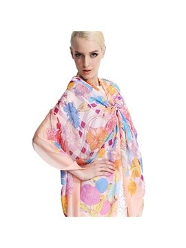 Lovely Various Pink Flowers Print Mulberry Silk Long Scarf