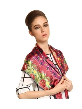 Beautiful Stylish Red Flowers and Jewels Print Mulberry Silk Square Scarf
