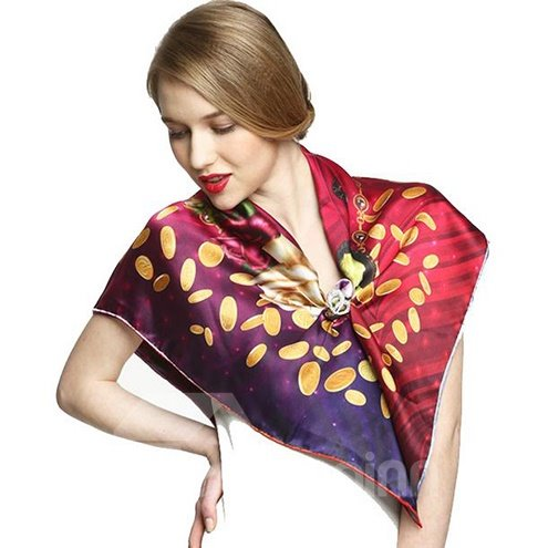 Noble Purple Flowers and Leaves Print Mulberry Silk Square Scarf