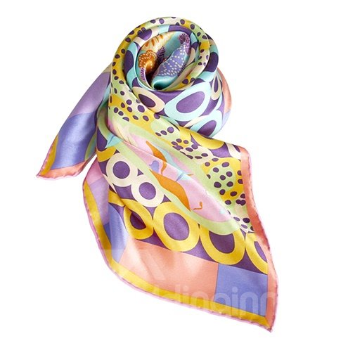 Chic Pink Circles and Floral Patterns Mulberry Silk Square Scarf