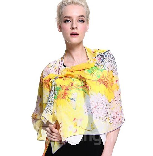 Beautiful Yellow Flowers Print Mulberry Silk Long Scarf
