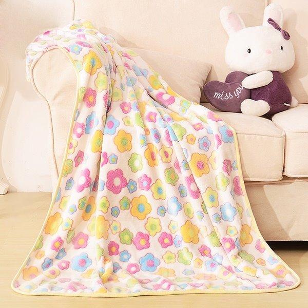 Colorful Flower Pattern Warm Flannel Baby Blanket