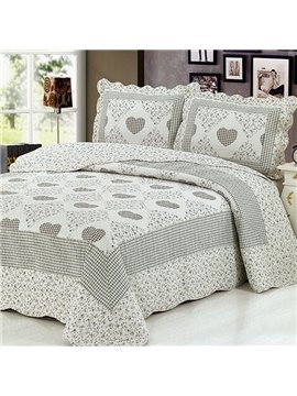 Full Cotton Sweet Heart Print Gray 3-Piece Bed in a Bag