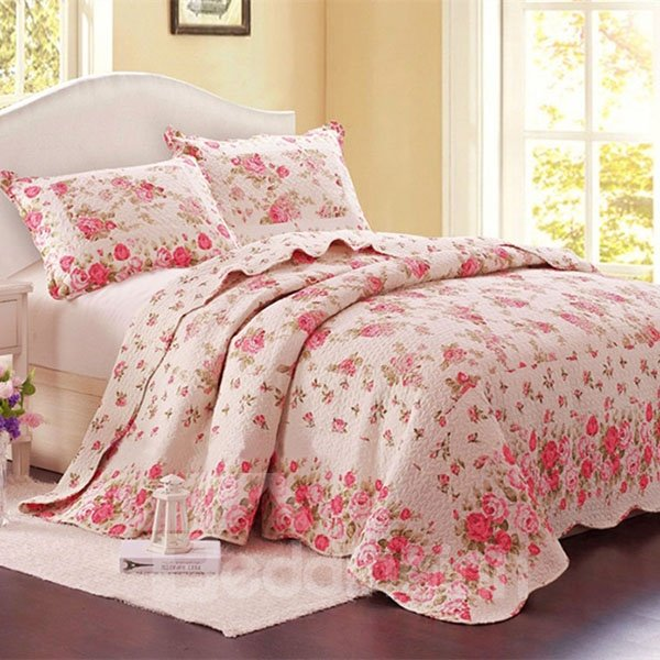 Romantic Sweet Pink Flower Print 3-Piece Cotton Bed in a Bag