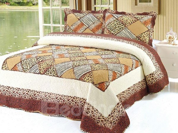 Chic Leopard Plaid Print 100% Cotton 3-Piece Bed in a Bag