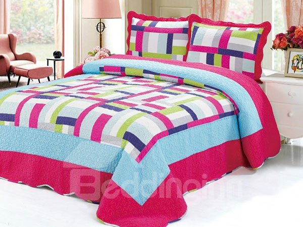 Stylish Colorful Plaid Style Cotton 3-Piece Bed in a Bag
