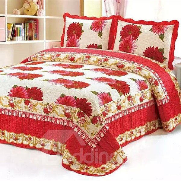 American Style Big Red Flowers Full Cotton 3-Piece Bed in a Bag
