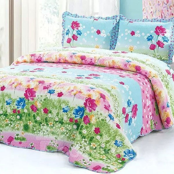 Refreshing Pastoral Flowers Print 3-Piece Bed in a Bag