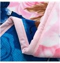 Magnificent Pink Flowers Print Super Soft Blue Coral Fleece Blanket
