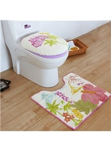 Cartoon Summer Castle Desigh Toilet Seat Cover and Rug Set