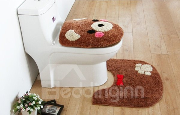 Cute Bear 3-piece Toilet Seat Cover and Rug Set
