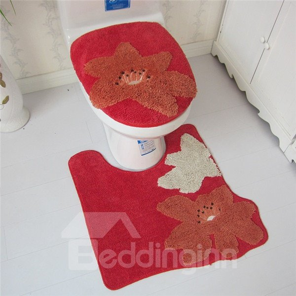 Comfy Flower Pattern Toilet Seat Cover and Rug Set