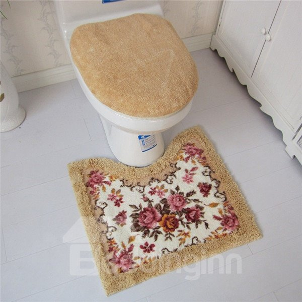 Soft and Warm Floral Print 3-piece Toilet Seat Cover and Rug Set