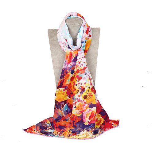 Unique Splashed Ink Patterns Mulberry Silk Long Scarf