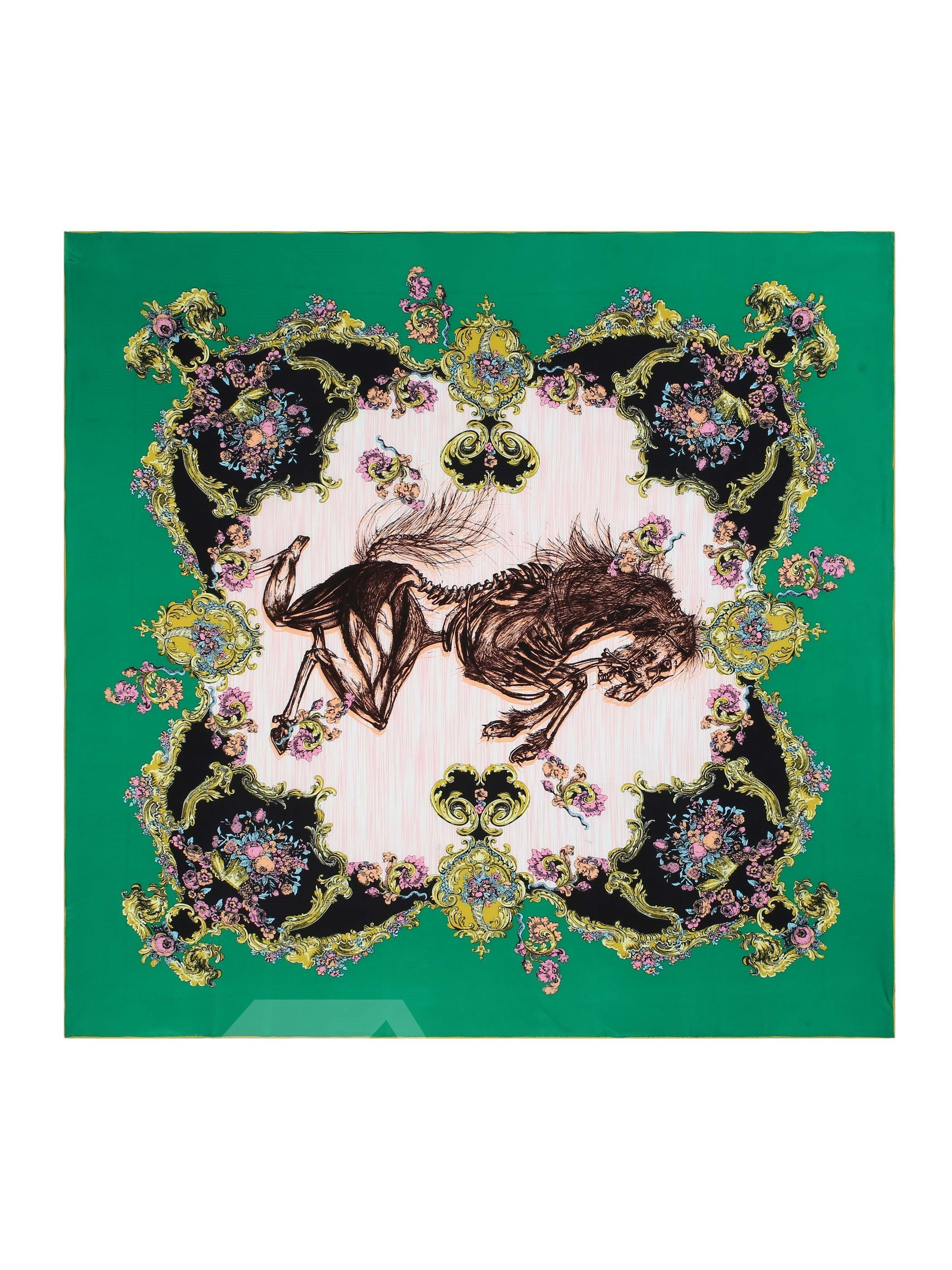 Deluxe Baroque Green Horse Patterns Mulberry Soft Silk Square Scarf