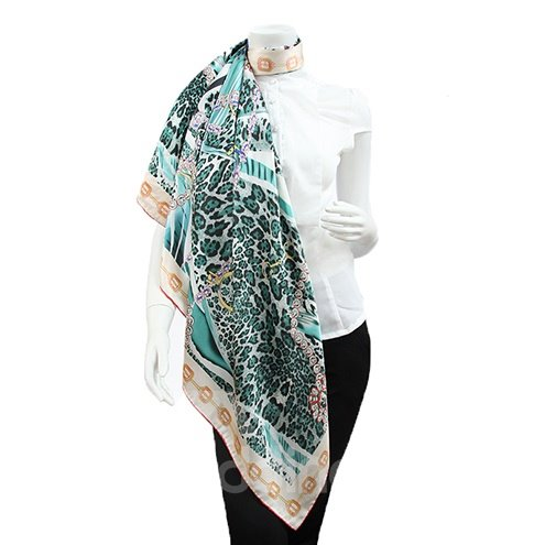 Chic Blue Leopard and Chains Patterns Mulberry Silk Square Scarf