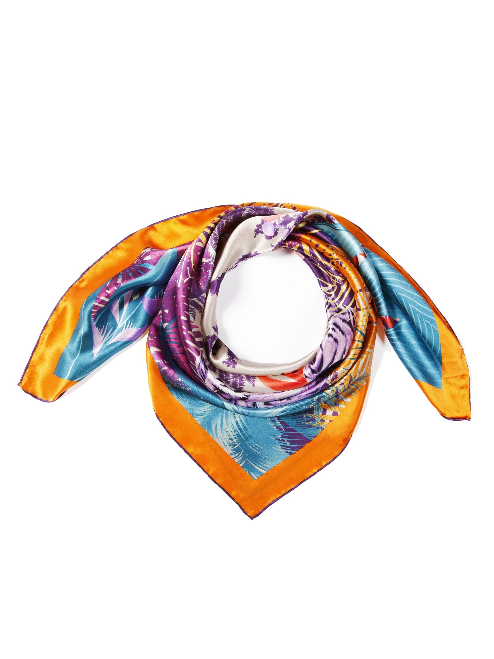 Stylish Tigers in the Jungle Print Soft Mulberry Silk Square Scarf
