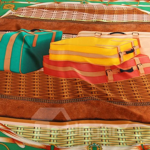 Deluxe Brown Luggage Boxes and Belts Patterns Mulberry Silk Square Scarf