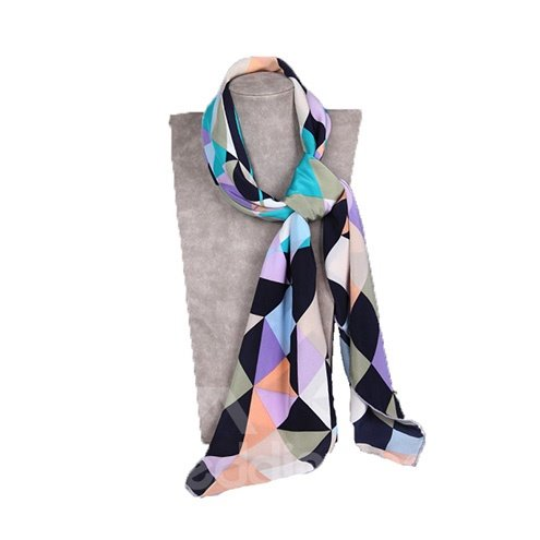Stylish Geometric Checks Patterns Soft Mulberry Silk Square Scarf