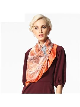Beautiful Flower and Spot Pattern Beautiful Silk Square Scarf