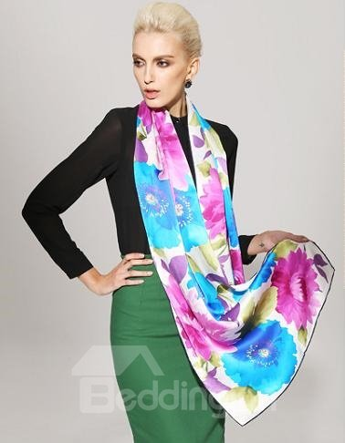 Gorgeous Blue and Purple Flower Mulberry Silk Long Scarf