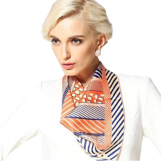 Classic Orange Dots and Strap Design Silk Beautiful Square Scarf