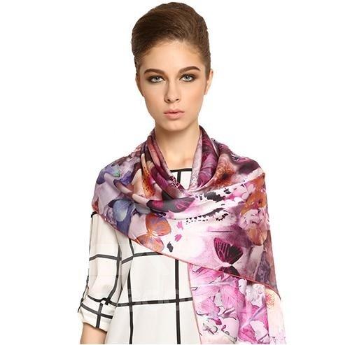 Wonderful Purple Flower With Butterfly Long Mulberry Silk Scarf