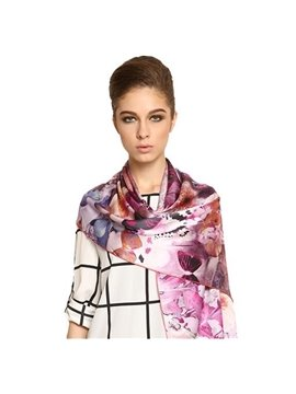 Wonderful Purple Flower With Butterfly Long Mulberry Silk Scarf
