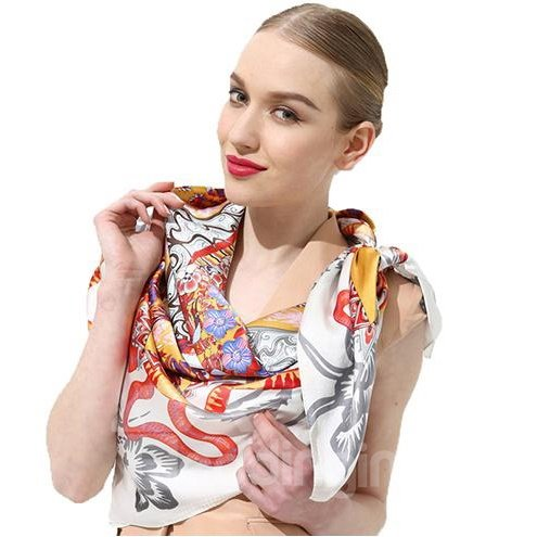 Dragon And Floral Pattern Orange Beautiful Square Silk Scarf