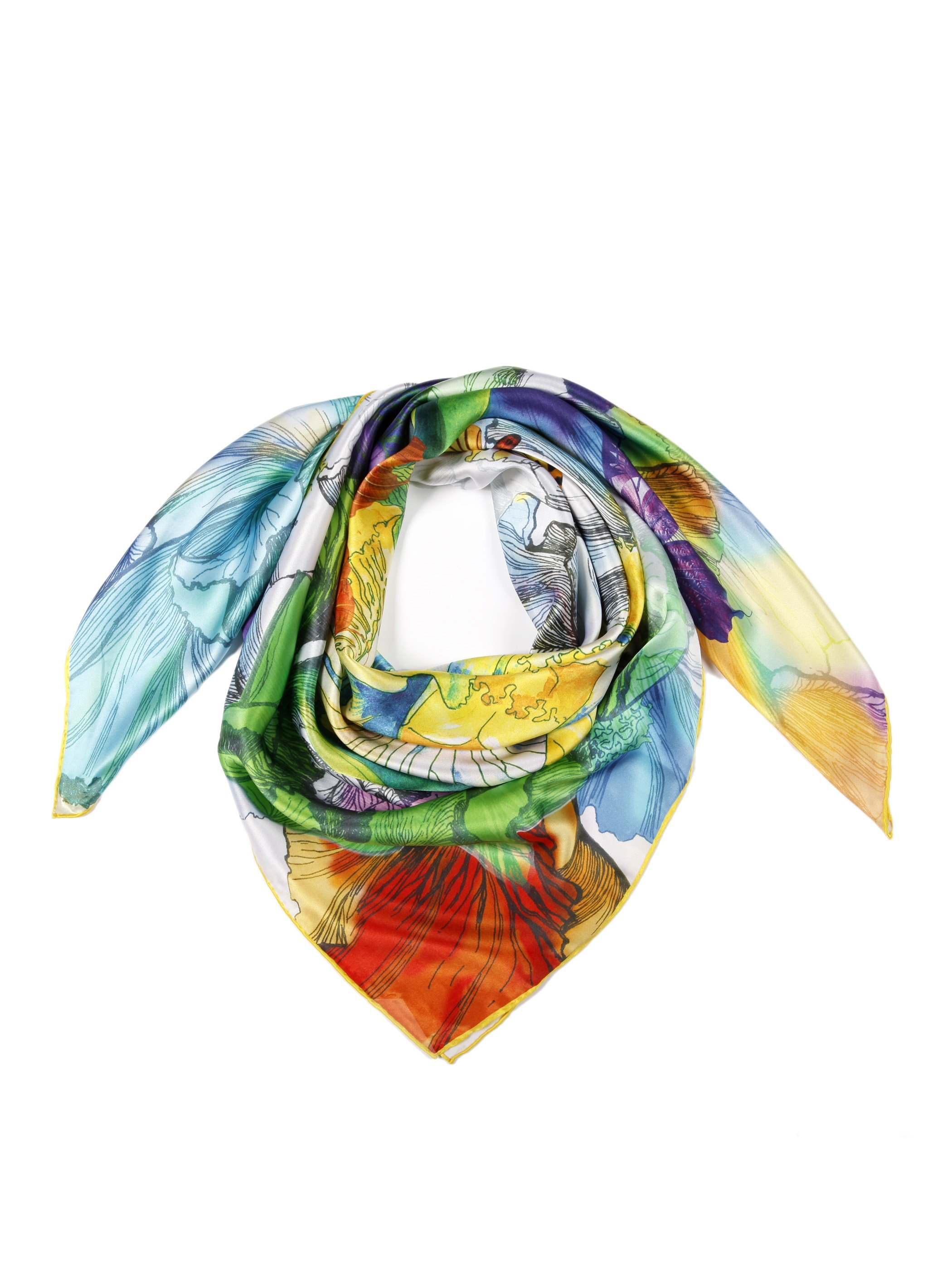 Gorgeous Colorful Lively Butterfly With Flower Beautiful Square Silk Scarf